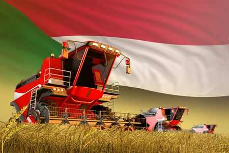 industrial 3D illustration of agricultural combine harvester working on rural field with Sudan flag background, food production concept