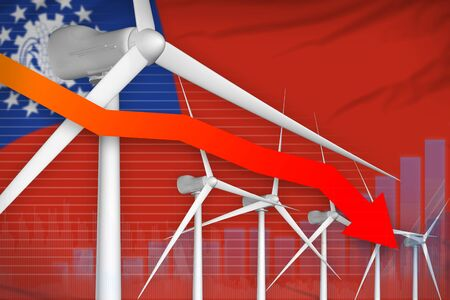 Myanmar wind energy power lowering chart, arrow down  - renewable energy industrial illustration. 3D Illustration