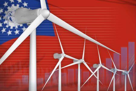Myanmar wind energy power digital graph concept  - green energy industrial illustration. 3D Illustration