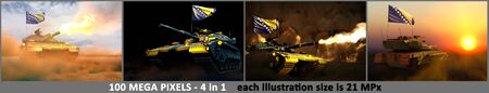 4 illustrations of high resolution tank with not existing design and with Bosnia and Herzegovina flag - Bosnia and Herzegovina army concept with place for your content, military 3D Illustration Фото со стока