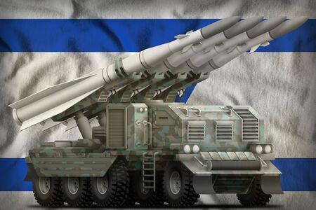 tactical short range ballistic missile with arctic camouflage on the Israel flag background. 3d Illustration Imagens