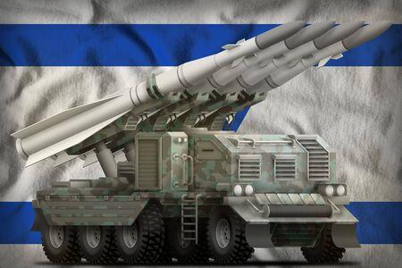 tactical short range ballistic missile with arctic camouflage on the Israel flag background. 3d Illustration Banco de Imagens