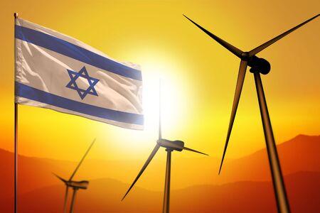 Israel wind energy, alternative energy environment concept with turbines and flag on sunset - alternative renewable energy - industrial illustration, 3D illustration