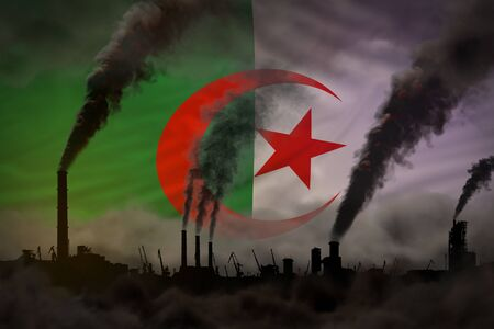 Global warming concept - dense smoke from industrial chimneys on Algeria flag background with space for your logo - industrial 3D illustration