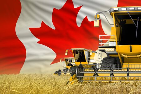 3 yellow modern combine harvesters with Canada flag on grain field - close view, farming concept - industrial 3D illustration