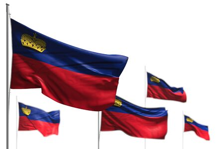 wonderful any occasion flag 3d illustration  - five flags of Liechtenstein are wave isolated on white - picture with soft focus