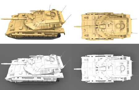 Military 3D Illustration of light grey and desert tactical camouflage modern tanks with design that not exists, detailed isolated honour concept