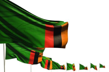 cute Zambia isolated flags placed diagonal, photo with bokeh and place for your text - any celebration flag 3d illustration