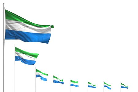 pretty anthem day flag 3d illustration  - many Sierra Leone flags placed diagonal isolated on white with place for text