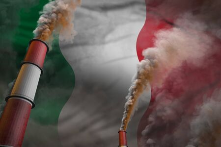 Pollution fight in Italy concept - industrial 3D illustration of two huge factory chimneys with dense smoke on flag background