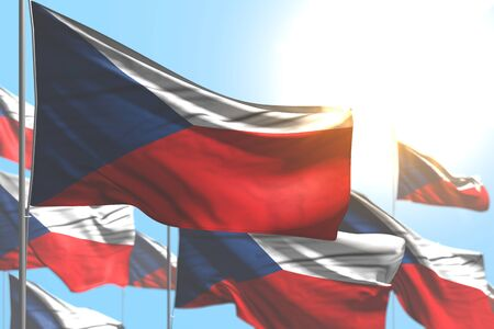 nice labor day flag 3d illustration  - many Czechia flags are waving against blue sky illustration with selective focus Stok Fotoğraf