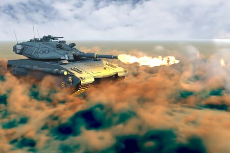 Military 3D Illustration of army tank with not real design at war shoots in desert, high resolution veterans day concept Banco de Imagens