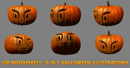 6 highly detailed isolated carved pumpkins for Halloween - owl face, 100 megapixels 3D illustration of objects