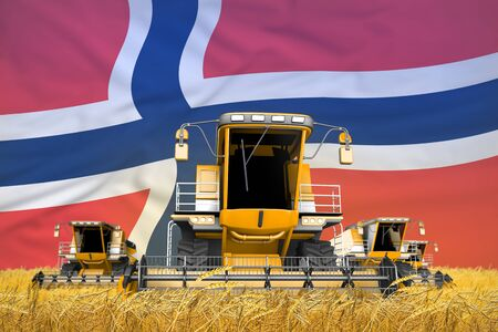 industrial 3D illustration of four orange combine harvesters on rural field with flag background, Norway agriculture concept Stock Photo