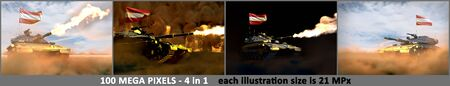 4 high detail images of heavy tank with fictive design and with Austria flag - Austria army concept, military 3D Illustration