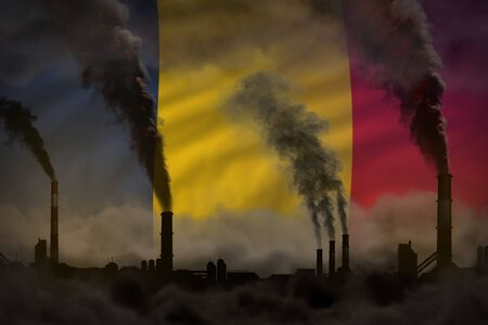 Dark pollution, fight against climate change concept - industrial chimneys dense smoke on Romania flag background - industrial 3D illustration