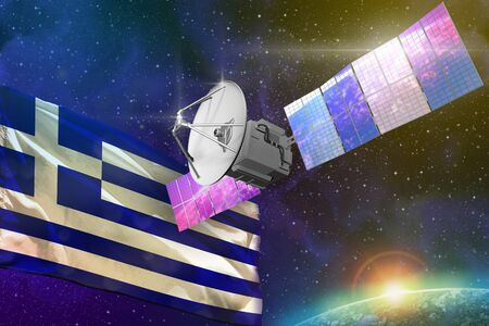 Satellite with Greece flag, space communications technology concept - 3D Illustration Фото со стока