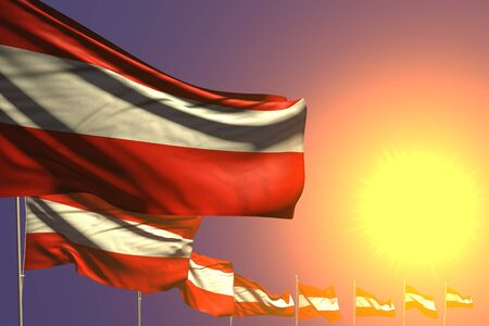beautiful many Austria flags placed diagonal on sunset with space for your text - any feast flag 3d illustration