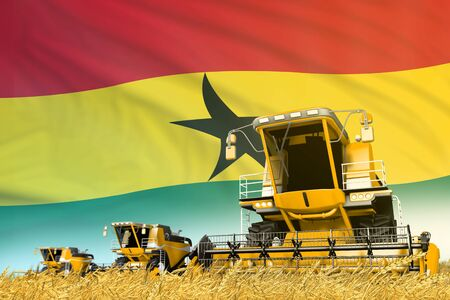 yellow wheat agricultural combine harvester on field with Ghana flag background, food industry concept - industrial 3D illustration