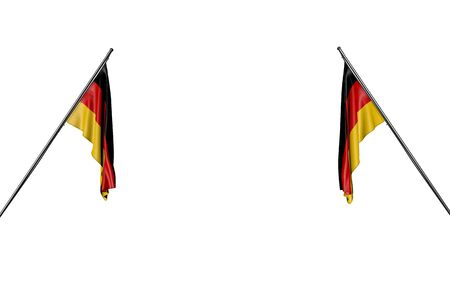 wonderful two Germany flags hanging on diagonal poles from two sides isolated on white - any feast flag 3d illustration