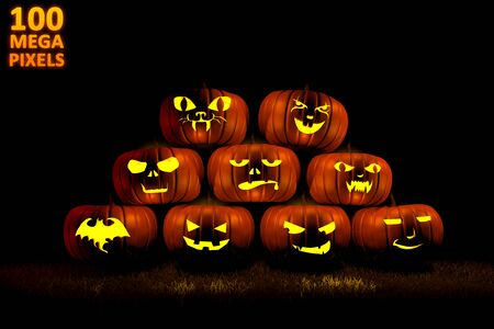 pile of 9 different carved pumpkins with fire light inside, halloween concept - 100 megapixels 3D illustration of objects Banco de Imagens