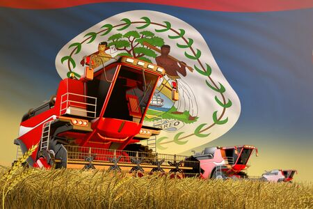 industrial 3D illustration of agricultural combine harvester working on farm field with Belize flag background, food production concept