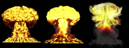 3 huge highly detailed different phases mushroom cloud explosion of hydrogen bomb with smoke and fire isolated on black - 3D illustration of explosion