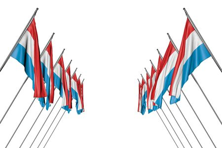 pretty many Luxembourg flags hanging on in corner poles from left and right sides isolated on white - any holiday flag 3d illustration  Stok Fotoğraf