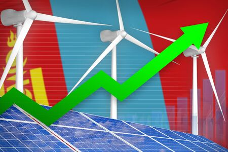 Mongolia solar and wind energy rising chart, arrow up  - green energy industrial illustration. 3D Illustration