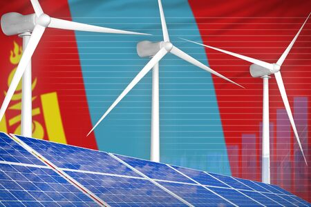 Mongolia solar and wind energy digital graph concept  - alternative energy industrial illustration. 3D Illustration
