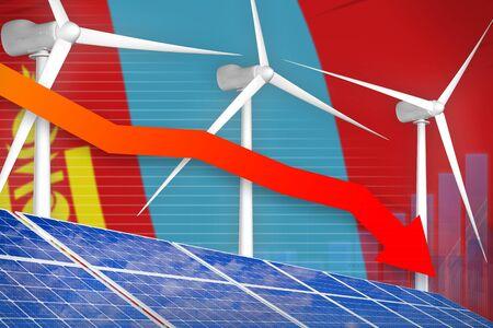 Mongolia solar and wind energy lowering chart, arrow down  - alternative energy industrial illustration. 3D Illustration Фото со стока - 131322849