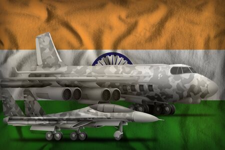 air forces with grey camouflage on the India flag background. India air forces concept. 3d Illustration 免版税图像