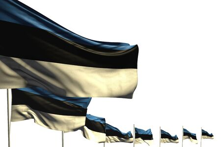 nice many Estonia flags placed diagonal isolated on white with place for text - any occasion flag 3d illustration  Stok Fotoğraf
