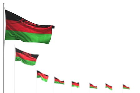cute Malawi isolated flags placed diagonal, image with bokeh and space for your text - any feast flag 3d illustration