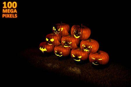 halloween concept or background - pile of 9 different carved pumpkins with fire light inside - huge resolution 3D illustration of objects Banco de Imagens