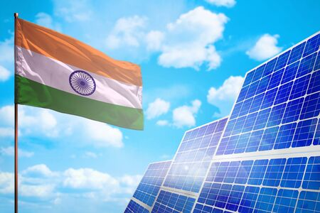 India alternative energy, solar energy concept with flag - symbol of fight with global warming - industrial illustration, 3D illustration Stock fotó
