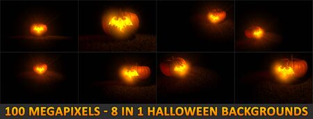 8 high detail backgrounds for Halloween with carved pumpkin - bat silhouette with fire light inside, 100 megapixels 3D illustration of object