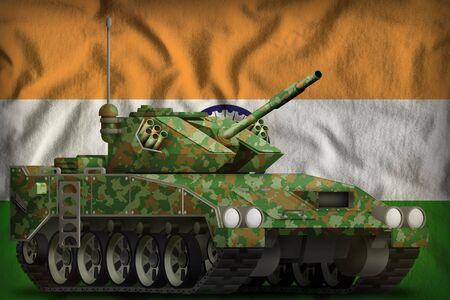 light tank apc with summer camouflage on the India flag background. 3d Illustration Stok Fotoğraf