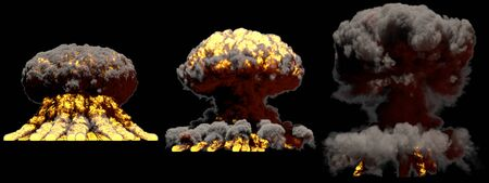 3 large different phases fire mushroom cloud explosion of fusion bomb with smoke and flames isolated on black background - 3D illustration of explosion