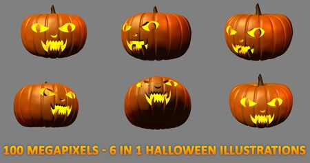 6 highly detailed isolated carved pumpkins for Halloween - scary vampire face with light inside, 100 megapixels 3D illustration of objects