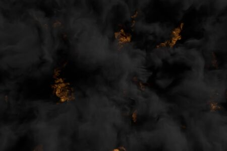 Flames on background and heavy smoking clouds above the flaming fire - fire 3D illustration Banco de Imagens
