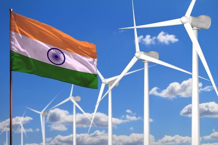 India alternative energy, wind energy industrial concept with windmills and flag - alternative renewable energy industrial illustration, 3D illustration Banco de Imagens - 131696849