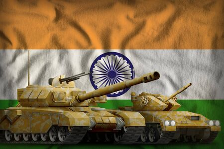 tanks with orange camouflage on the India flag background. India tank forces concept. 3d Illustration 写真素材
