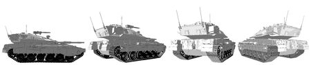 Military 3D Illustration of cartoon style rendered and outlined isolated 3D army tank with design that not exists, high detail honor concept Фото со стока