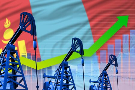 Mongolia oil industry concept, industrial illustration - growing graph on Mongolia flag background. 3D Illustration