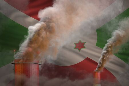 Global warming concept - dense smoke from factory pipes on Burundi flag background - industrial 3D illustration 版權商用圖片