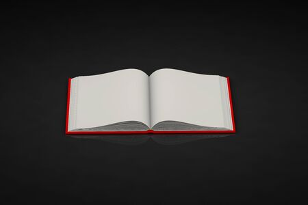 nice very high resolution red book that is fully open, symbol of the day of knowledge isolated on black background - object 3d illustration