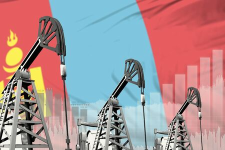 Mongolia oil and petrol industry concept, industrial illustration on Mongolia flag background. 3D Illustration