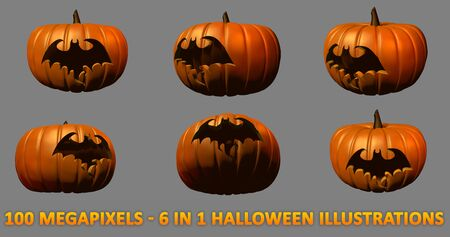 6 high detail isolated carved pumpkins for Halloween - bat silhouette, 100 megapixels 3D illustration of objects Stock fotó