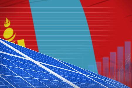 Mongolia solar energy power digital graph concept  - modern energy industrial illustration. 3D Illustration